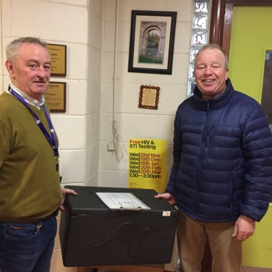 Mal Clarke & Robert Murdock picking up Meals On Wheels delivery