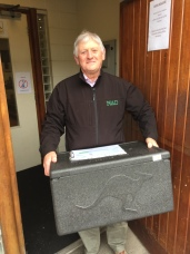 Colm Mathews Picking up Meals On Wheels delivery.